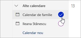 Captură de ecran de calendar de familie în panoul din stânga