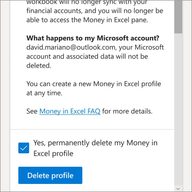 Defilați prin informațiile furnizate, apoi selectați Ștergere profil.