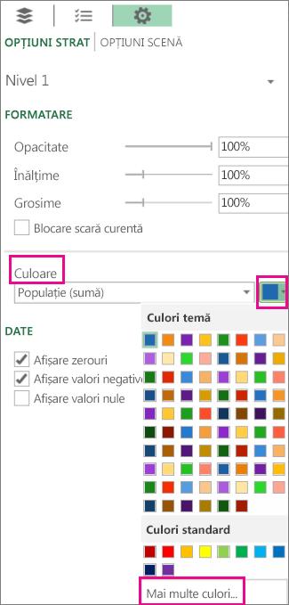 Lista verticală Culoare din fila Setări, Opțiuni strat