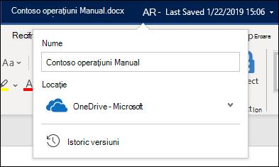 Meniul vertical din titlul documentului din Word pentru Office 365