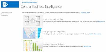 Pagina de pornire a site-ului Centru Business Intelligence