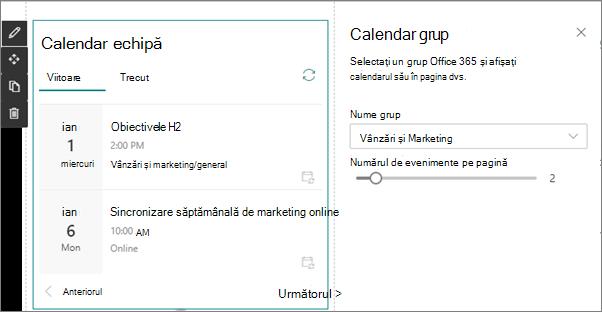 Calendar echipă