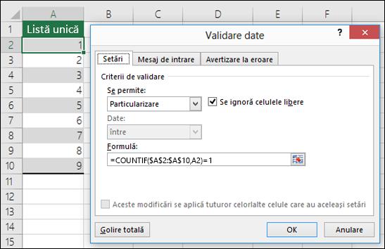 Exemplul 4: Formule în validarea de date