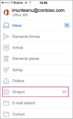 Grupuri este un nod în lista de foldere în Outlook mobile