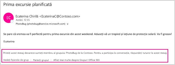 Toate mesajele de e-mail primite de invitat de la membrii grupului vor avea un subsol cu instrucțiuni și linkuri