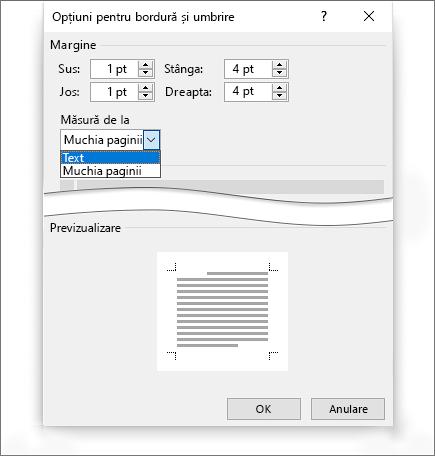 Umbrirea de borduri de pagină