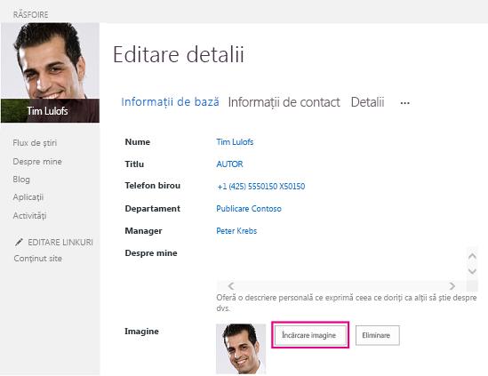 Captură de ecran a opțiunii Modificare imagine din SharePoint, având evidențiat butonul Încărcare imagine