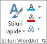 Grupul Stiluri WordArt, afișând doar pictograme