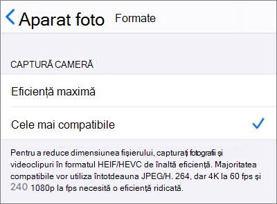 """setările de format de captură a camerei iOS setate la """"cele mai compatibile"""""""