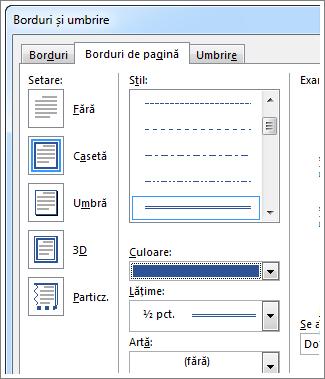 Setarea opțiunilor pentru bordurile de pagină