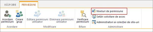 Alegeți pagina Niveluri de permisiune.