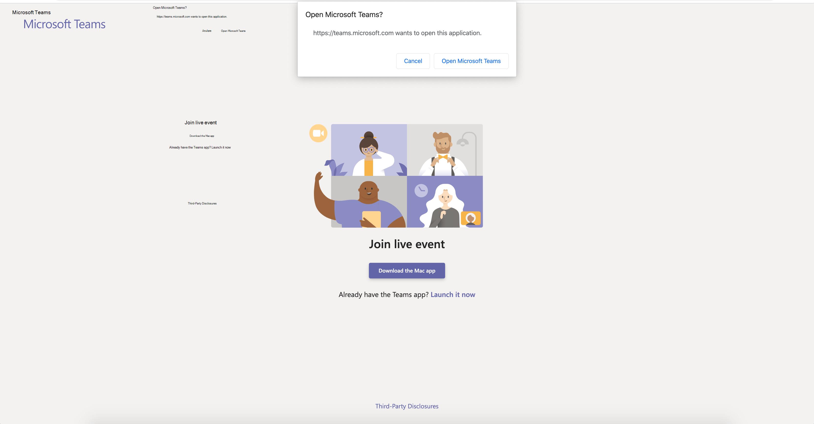 Pagina de pornire a Microsoft teams