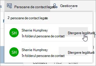Captură de ecran a butonului Anulare legătură în meniul de persoane de contact a legat