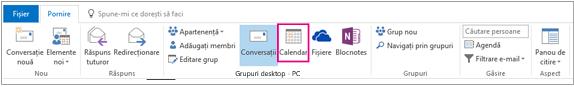 Butonul calendar din panglică grupuri în Outlook