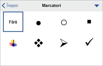 Comanda Marcatori, afișând opțiunile de formatare