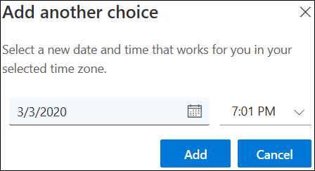 Adăugarea altei opțiuni pentru întâlnire