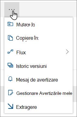 Opțiunile mutare și copiere la meniu din navigarea superioară pentru SharePoint Online atunci când sunt selectate fișiere sau foldere