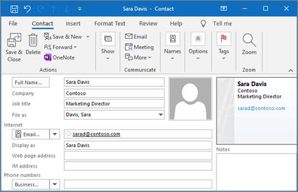 Adăugarea unei persoane de contact în Outlook