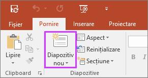 Afișează butonul Diapozitiv nou de pe fila Pornire a panglicii din PowerPoint