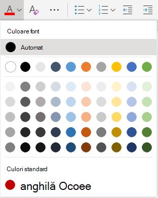 Meniul selecție culori font Word online