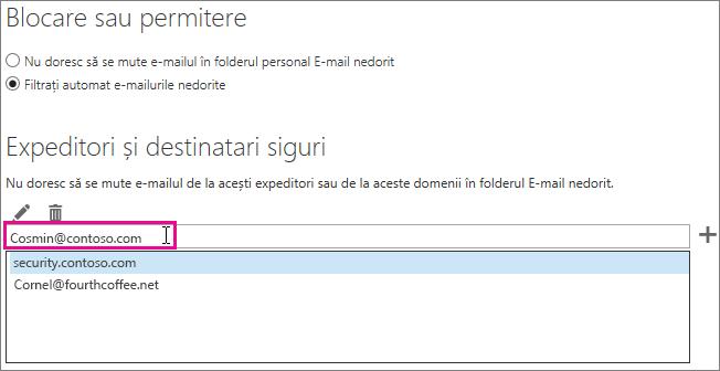 Adăugarea unui expeditori siguri în Outlook Web App