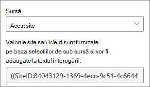 Valorile SiteID și WebID pentru interogările particularizate
