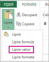 Comanda Lipire afișând Lipire valori în Excel Web App
