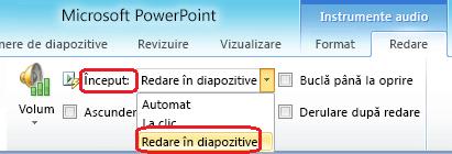 """Opțiunea """"Redare în diapozitivele"""" pentru un fișier audio în PowerPoint 2010"""