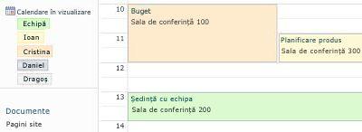 Calendar de grup cu resursele