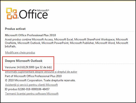 Captură de ecran a paginii unde puteți verifica versiunea Outlook 2010, sub Despre Microsoft Outlook