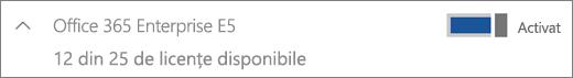 Afișează o licență Office 365 Enterprise E5 cu 12 licențe disponibile.