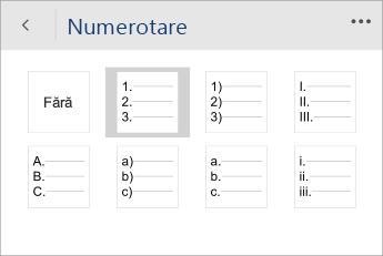 Captură de ecran a meniului Numerotare din Word Mobile, cu un stil de numerotare selectat.