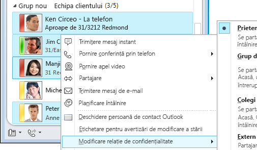 Personalizarea informațiilor de contact