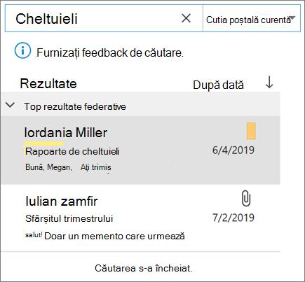 Utilizarea căutării pentru a găsi e-mailul în Outlook