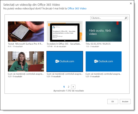 Office 365 pagina Selectați un fișier Video pentru a încorpora