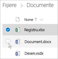Captură de ecran cu selectarea unui fișier în vizualizarea listă OneDrive