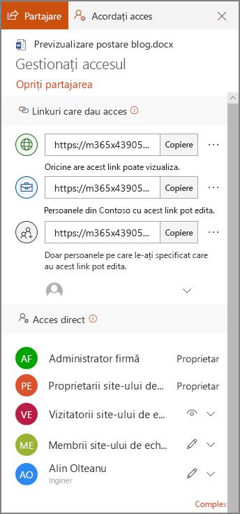 Captură de ecran a gestiona Access afișând panoul Partajare linkuri și acces direct.
