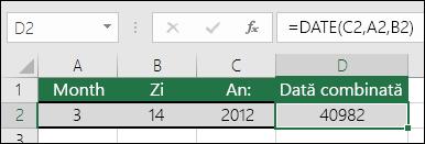 Funcția DATE, exemplul 1