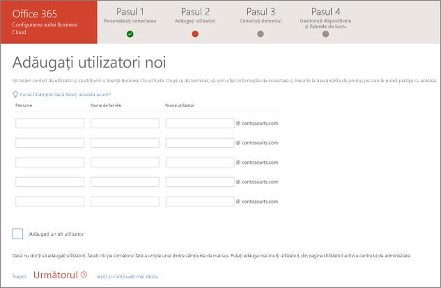 Captură de ecran cu doi utilizatori noi adăugați în expertul de configurare