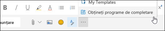 Captură de ecran cu butonul Obțineți programe de completare