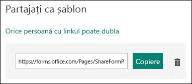 Un formular șablon URL linkul de lângă un butoanele copiere și ștergere.