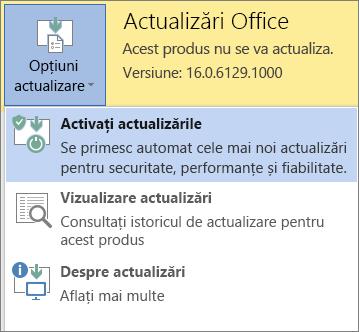 Faceți clic pe Opțiuni actualizare, apoi activați actualizările