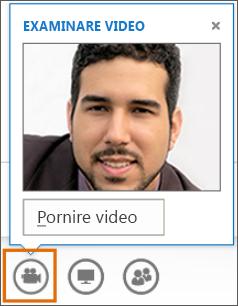 Captură de ecran cu Pornire video într-o întâlnire cu Examinare video