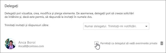 Captură de ecran a caseta de selectare permiteți delegat vizualizarea evenimente private.