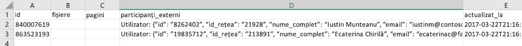 Captură de ecran a unui fișier de export date exemplu