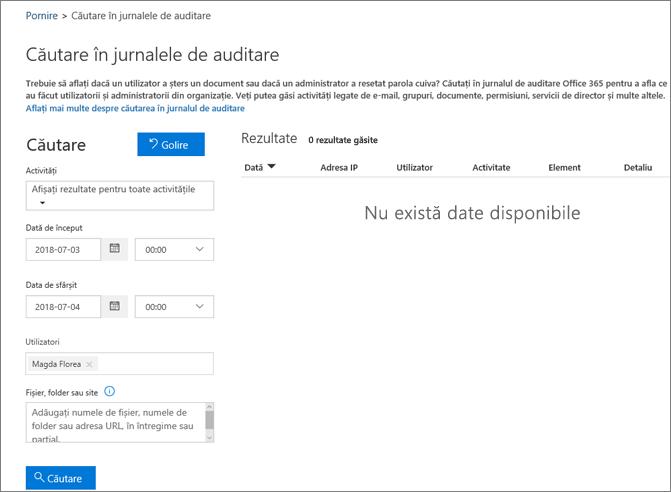 Raport de activitate Office 365 care afișează toate activitățile pentru un partener din extranet