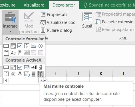 Controalelor ActiveX de pe panglică