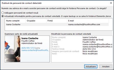 Dacă aveți o persoană de contact dublate, Outlook vă întreabă dacă doriți să îl actualizați.