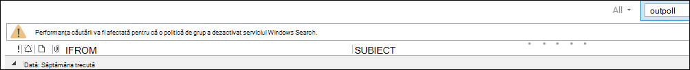 Avertisment despre căutarea Outlook