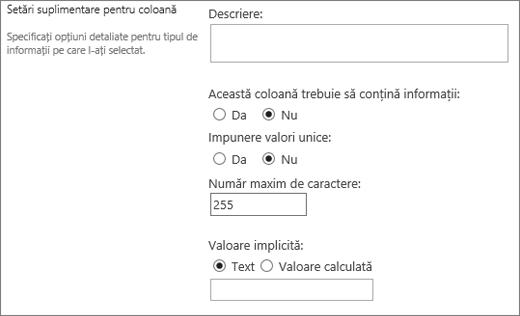 Opțiuni pentru o singură linie de coloană de text